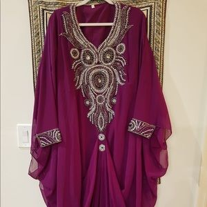 Purple kaftan with heavy embroidery